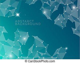抽象的, 青い背景, 作られた, から, 三角形