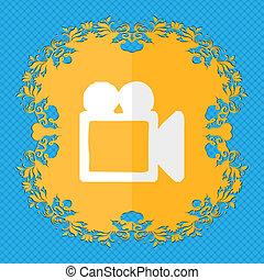 抽象的, 青, あなたの, text., 背景, 場所, 花, camcorder., デザイン, 平ら