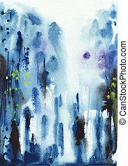 抽象的, 青, ぬれた, 水彩画, 背景