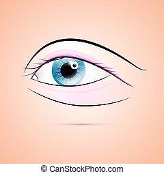 抽象的, 青, 人間, ベクトル, 目