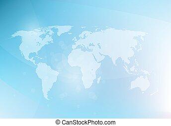 抽象的, 青, 地図, 背景, ベクトル, 世界