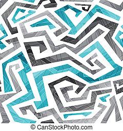 抽象的, 青, 曲がった, ライン, seamless, パターン