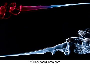 抽象的, 青, 煙, フレーム, 赤