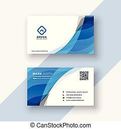 抽象的, 青, 現代 ビジネス, カード, デザイン