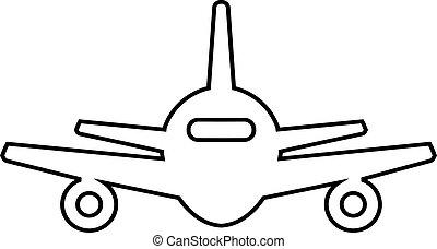 抽象的, 飛行機, 線, アイコン