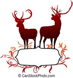 抽象的, 鹿, フレーム, 背景
