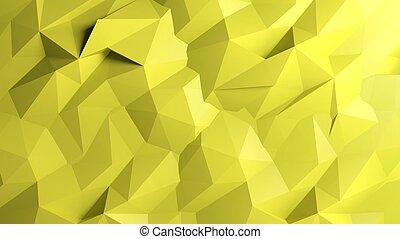 抽象的, 黄色の背景, poly, 低い