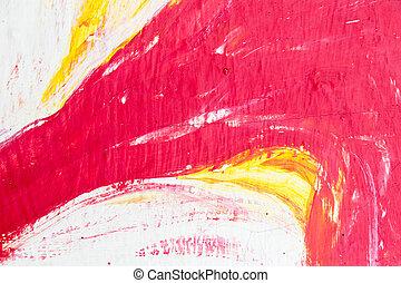 抽象的, 黄色, コンクリート, 背景, 白, 絵, 赤