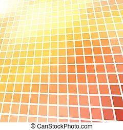 抽象的, 黄色, バックグラウンド。, 明るい, ベクトル, 赤, モザイク, 3d