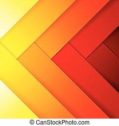 抽象的, 黄色, 形, オレンジ背景, 交差, 長方形, 赤