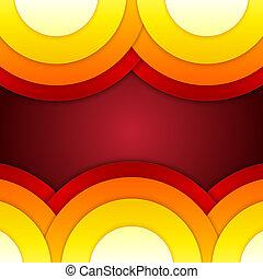 抽象的, 黄色, 形, オレンジ, ラウンド, 赤
