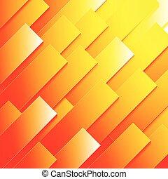 抽象的, 黄色, 形, ペーパー, 背景, オレンジ長方形, 赤