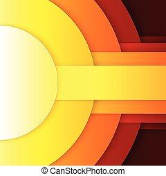 抽象的, 黄色, 形, ペーパー, 背景, オレンジ, ラウンド, 赤
