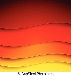 抽象的, 黄色, 波, 形, ペーパー, 背景, オレンジ, 赤
