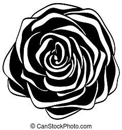 抽象的, 黒い、そして白い, rose.