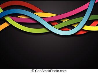 抽象的, 黒い背景, カラフルである, 波