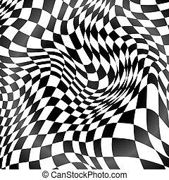 抽象的, 黒い背景, 曲がった, 格子, 白