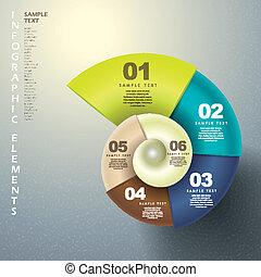 抽象的, 3d, らせん状に動きなさい, infographics