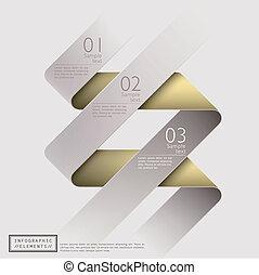 抽象的, 3d, クラシック, リボン, infographics