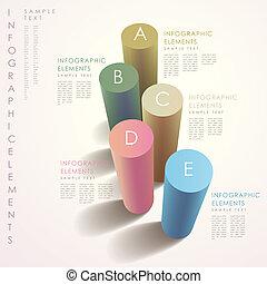 抽象的, 3d, シリンダー, infographics