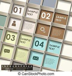抽象的, 3d, 格子, infographics