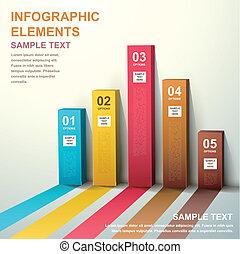 抽象的, 3d, 棒グラフ, infographics