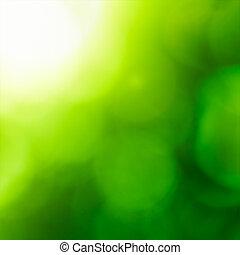 抽象的, backgound, bokeh)., 自然, (green