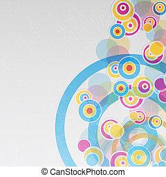 抽象的, circles., 接続される, 背景