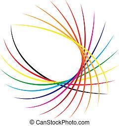 抽象的, decorativ, 要素, 円, 基づかせている, 色のswatches
