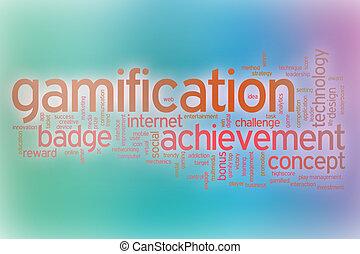 抽象的, gamification, 単語, 雲, 背景