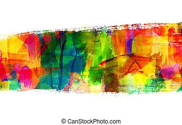 抽象的, guasch, painting., ブラシ, stroke., freehand, 図画