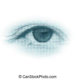 抽象的, halftone, デジタル, eye., eps, 8