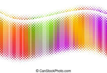 抽象的, halftone, 多色刷り, 波
