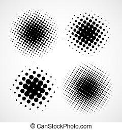 抽象的, halftone, backgrounds., ベクトル, セット, の, 隔離された, 現代, des