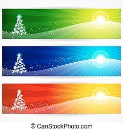 抽象的, header., クリスマス, デザイン, 旗, あなたの