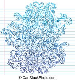 抽象的, henna, ペイズリー織, いたずら書き
