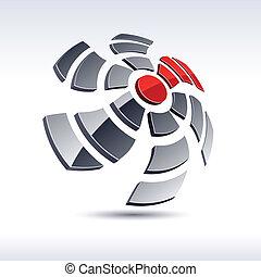 抽象的, icon., 3d, プロペラ