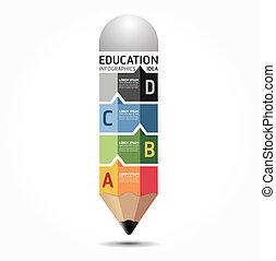 抽象的, infographic, デザイン, 最小である, スタイル, 鉛筆, テンプレート, /, 缶,...