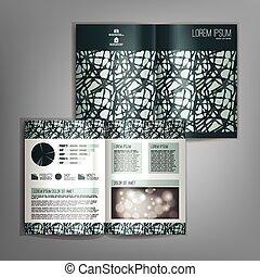 抽象的, pattern., ベクトル, デザイン, テンプレート, パンフレット, 緑