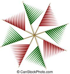 抽象的, pinwheel, から, 赤 と 緑, ストリップ