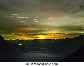 抽象的, planet., 緑, fog., 日の出