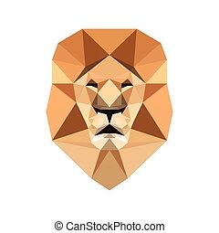 抽象的, poly, 対称的, ライオン, portrait., 低い, 前部, head., 幾何学的, ビュー。, ...