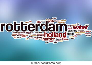 抽象的, rotterdam, 単語, 雲, 背景
