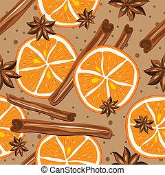 抽象的, seamless, バックグラウンド。, ベクトル, シナモン, 背景, 台所, オレンジ