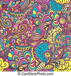 抽象的, seamless, パターン, バックグラウンド。, hand-drawn, 波状, 波, tha