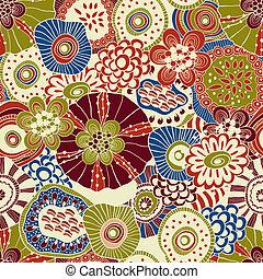 抽象的, seamless, 花, ベクトル, 構成