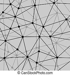 抽象的, seamless, 黒い背景, 白, 網