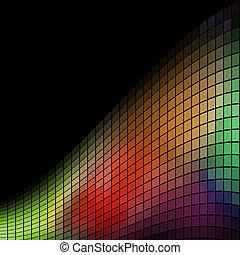 抽象的, space., 波, 多色刷り, 黒い背景, コピー, モザイク