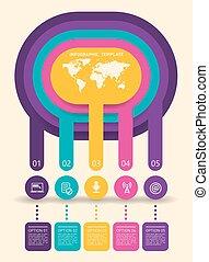 抽象的, template., infographics