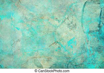 抽象的, textured, グランジ, 青